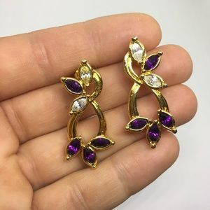 Avon vintage earrings stud purple gold clear